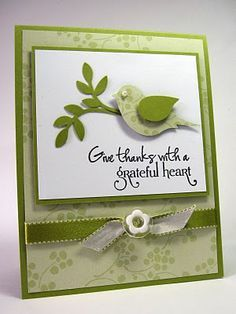 handmade card from stamping up north: religious cards ... greens and white ... two step bird ... like the sentiment ...