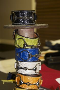 Crocodile bracelets by @Christina & Ray Designs http://www.horsesandheels.com/2013/02/designer-spotlight-rebecca-ray-designs/