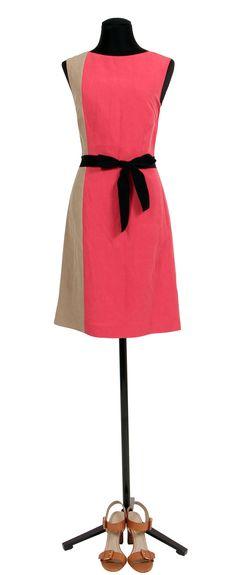 1.2.3 Paris - Robe Isa 129€  Chaussures Estrella 129€ #lin #bicolore #lrobe #corail #sandales #camel #mode #printemps #123