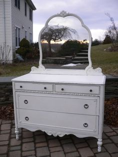 Chic and Shabby White Dresser with Mirror by VintageRebornLaura, $450.00