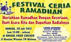 """Mari meriahkan Ramadhan dengan keceriaan, dan ikuti """"Festival Ceria Ramadhan"""" persembahan MyFriends Organizer ini! Raih kesempatan untuk memenangkan hadiah menariknya. - See more at: http://www.acaraapa.com/event/1269_festival_ceria_ramadhan#sthash.aoM0Rd63.dpuf"""