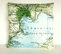 decorative cushion cover map pillow TOKYO by mybeardedpigeon, $55.00