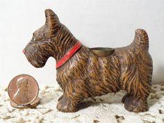 """Vintage Syroco Wood Scottish Terrier/Scottie Dog Figurine~2 3/8"""" T~Metal Holder"""