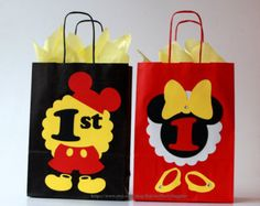 Mickey and Minnie mouse favor bags Mickey and Minnie Mouse birthday party favors Disney birthday decorations Clubhouse party boy girl twins Mickey Mouse Favors, Minnie Mouse Birthday Decorations, Mickey 1st Birthdays, Mickey Party, Mickey Mouse Birthday, Minnie Mouse Party, Mouse Parties, Mickey Mouse Clubhouse, Mickey Minnie Mouse