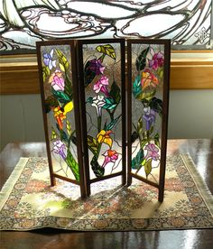 Dollhouse Miniature 1:12 Scale Artisan Leaded Glass Room Screen. $85.00, via Etsy.
