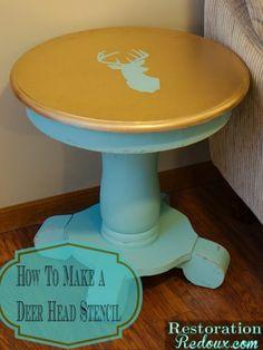 Deer Head Stenciled Side Table - Restoration Redoux http://www.restorationredoux.com/?p=7268