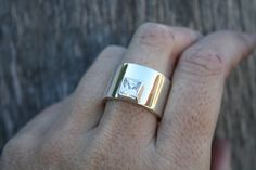 chunky silver ring edgy statement ring square stone by LolaAndCash, $127.00