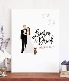 Wedding Guest Book Sign In with Couple Portrait on Canvas or Paper for Unique Guest book Idea - The Penny by Miss Design Berry by MissDesignBerryInc