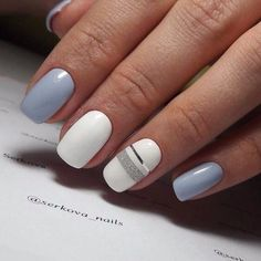 Squoval nails are something in between square and oval shapes. Nevertheless the . - Squoval nails are something in between square and oval shapes. Nevertheless the - - Gorgeous Nails, Love Nails, How To Do Nails, Fun Nails, Gray Nails, Blue And White Nails, Blue Gel, White White, Tape Nail Art