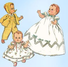 1950s Vintage Simplicity Sewing Pattern 1844 11 1/2 Inch Baby Doll Clothes ORIG