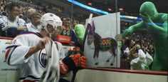 The Green Men play pin the tail on Taylor Hall. haha love Hallsy, but this is funny. #greenmen #vancouver #taylorhall