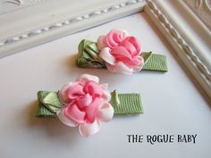 Ribbon Rosette Hair Clips  Your Choice Pink or by TheRogueBaby, $3.25