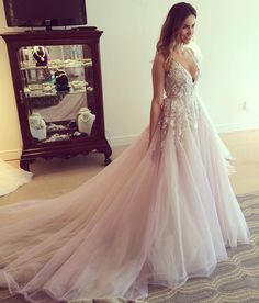 """The """"Leah"""" gown by Hayley Paige hayley paige wedding dresses 2018 a line blush sweetheart neck lace long sleeve"""