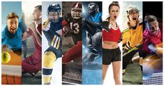 Sport collage about soccer american football basketball tennis boxing ice S Football Rules, Football And Basketball, 1956 Olympics, Swimming Program, Table Tennis Player, Rugby League, School Sports, Field Hockey, Olympic Games