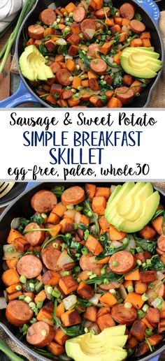easy Paleo egg-free breakfast recipe is always a simple go to meal. This skillet is full of healthy vegetables, flavorful spices and sausage! This egg-free breakfast is also for when you're sick of eggs or want to meal prep breakfast! Egg Free Recipes, Whole 30 Recipes, Whole Food Recipes, Turkey Recipes, Whole 30 Breakfast, Free Breakfast, Breakfast Skillet, Breakfast Time, Breakfast Muffins