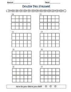 double ten frame math worksheet- double frames, 2 digit nu