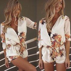 Fashion V-neck Long Sleeve Print Jumpsuits - Pants & Shorts - Clothing