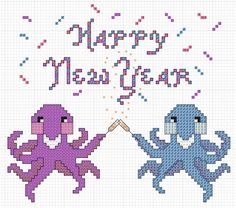 Happy New Year Octopus cross stitch chart. Free download at the blog from Hancock's House of Happy.   #cross-stitch