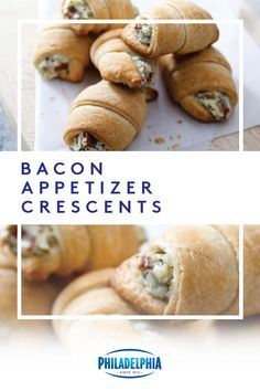 Bacon – need we say more? Roll up an instant favorite with crescent rolls, Parmesan, fresh parsley and, of course, Philly. Bacon Appetizers, Appetizers For Party, Appetizer Recipes, Christmas Appetizers, Thanksgiving Recipes, Fall Recipes, Holiday Recipes, Bacon Recipes, Crescent Roll Recipes