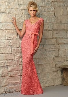 Open Back Sleeveless Mermaid V-neck Floor Length Lace Coral Sash Prom /  Homecoming Dresses By ML 724