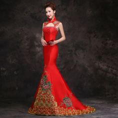 Asian inspired embroidered prom dress mandarin collar mermaid Chinese red and…