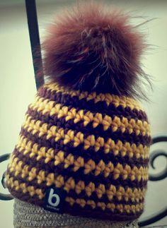 beanie with stripes, 100% merino wool www.beanie.at #beanie #crochet