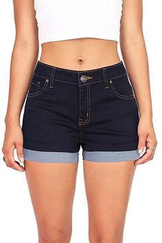 Black Daisy Juniors Ripped Denim Shorts