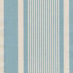 Atlantic Stripe Fabric Aqua blue and cream varied stripe cotton