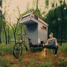 e91f4841194 Designed by Boston-based artist Kevin Cyr, the Camper Bike is both a fully  functioning RV and the subject of a number of Cyr& amazing paintings.