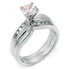 Sterling Silver Wedding Ring Set, Crafted with Top Quality Diamond Color Round Cut Cubic Zirconia
