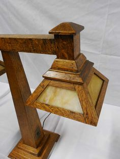 Buy online, view images and see past prices for MISSION OAK TABLE LAMP. Craftsman Style Table, Craftsman Lamps, Mission Style Furniture, Mission Oak, Arts And Crafts Furniture, Woodworking Inspiration, Art And Craft Design, Cool Lamps, Stained Glass Lamps