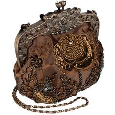 MG Collection Antique Beaded Rose Evening Handbag, Clasp Purse Clutch W/Removable Chain