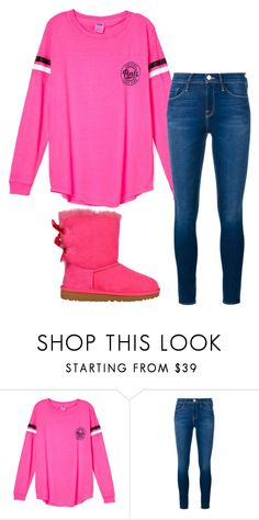 """""""Pink"""" by kaitlyns0512 on Polyvore featuring Frame Denim, UGG Australia, women's clothing, women, female, woman, misses and juniors"""