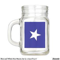 Blue and White Star Mason Jar