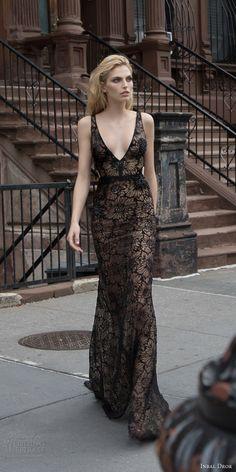 inbal dror 2016 wedding dress with sleeveless strap v neck sheath trumpet black color wedding dress style 30 mv