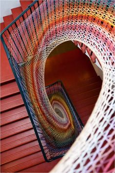 I'd love to have this staircase, nevermind the beautiful fiber weaving! I'd love to have this staircase, nevermind the beautiful fiber weaving! Yarn Bombing, Urbane Kunst, Take The Stairs, Stair Steps, Stairway To Heaven, Crochet Art, Knit Art, Crochet Patterns, Staircase Design