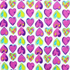 Color Hearts Pink Cotton Jersey Blend Knit Fabric :: $5.25