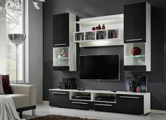 Modern, contemporary entertainment wall units with storage. In white high gloss, oak with led lights. Tv Unit Furniture, Buy Living Room Furniture, Furniture Deals, Living Room White, Living Room Sets, Living Room Modern, Tv Wall Design, Bed Design, Living Room Tv Unit Designs