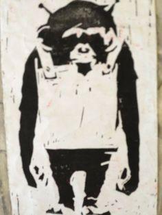 banksy lino print