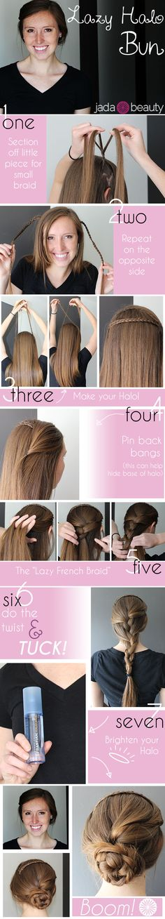 Lazy Halo Bun Tutorial / Click for more photos and instructions #jadabeauty