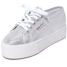 Superga 2790 Platform Lame Sneakers ($59) ❤ liked on Polyvore featuring shoes, sneakers, silver, lace up sneakers, metallic platform shoes, laced up shoes, platform sneakers and platform shoes