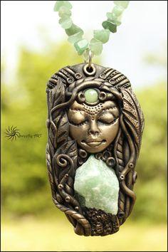 Gemstone necklace, Goddess necklace, Aventurine necklace,Mother earth,Jade necklace,healing stone,chakra stone,Raw aventurine,spirit jewelry