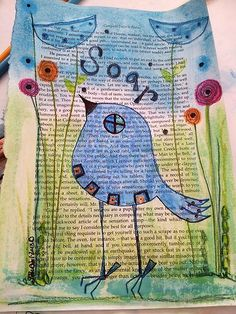 Soar- Blue Bird on Book Page
