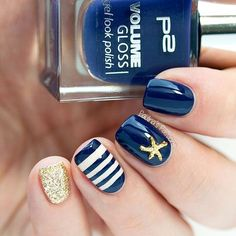 Sailor nails with a starfish study from the Born Pretty Store (#20116). Use WRL91 to get 10% off on your purchase   I'm holding on to the summer with these nails!