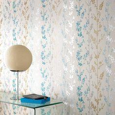 Baies Bleu sarcelle / Or / Papier peint Argent par Graham and Brown