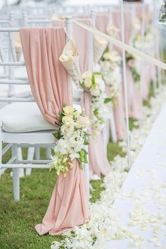 "Blue Wedding Flowers Aisle decor with dusty rose drapes and white and yellow flowers // Wedding Boutique Phuket dreamt up a vintage European ""Key of Love""-inspired celebration on the beachfront lawn of Renaissance Phuket Resort Wedding Chair Decorations, Wedding Chairs, Wedding Table, Wedding Church, Garden Wedding, Wedding Ideas, Spring Wedding, Church Wedding Decorations Aisle, Wedding Themes"