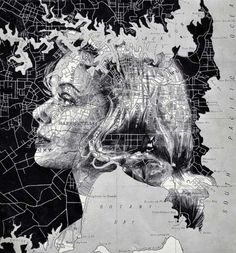 Stunning Female Portraits on Maps by Ed Fairburn. l #ink #pencil #drawings #portraits #map