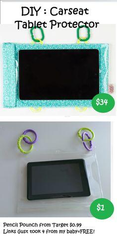 DIY  Carseat Tablet Protector - Car seat - Links - Hooks - Car Seat Cinema