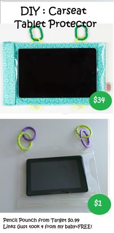 DIY  Carseat Tablet Protector - Car seat - Links - Hooks - Car Seat Cinema