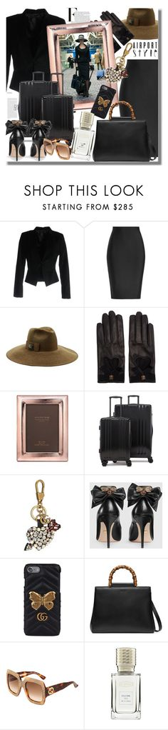 """""""Wanderlust Wonderful: Airport Style"""" by pesanjsp ❤ liked on Polyvore featuring Philipp Plein, Roland Mouret, Gucci, Argento SC, CalPak and airportstyle"""